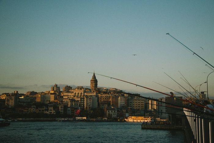 Galata Galata Kulesi Istanbul Fisherman Fishermen Sea Sky Turkey