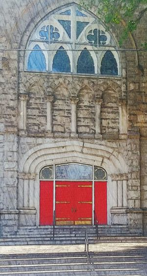 Holy Places Travel DestinationsArchitecture Red Doors And Windows Church Architecture Church Built Structure Day Arch History Backgrounds No People Outdoors Cathedral Cathedral Window Cathedral Door Red Doors in Atlanta Ga