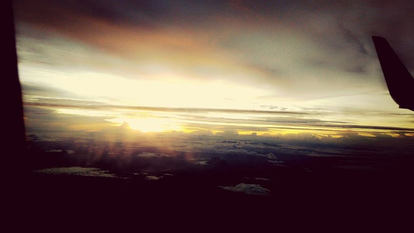 sunset on the sky From An Airplane Window