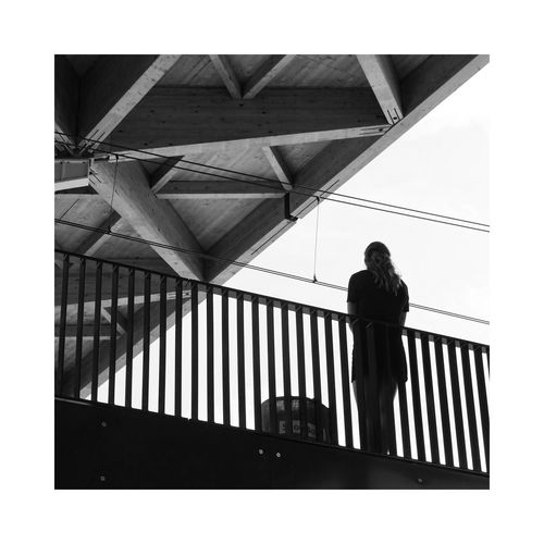 Connections Triangles B&w Monochrome Trainstation Waiting Connections Standing Railing Architecture Silhouette