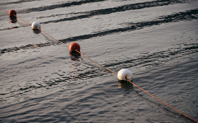 High angle view of water buoys