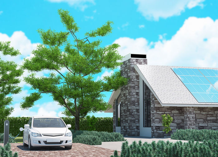 Electric car with ecological house, 3d Ecolocilal Style Of Life Ecological Ecological House Ecology Electric Car Free Fresh Gas Green Life New Oil Petrol Photovoltaic Photovoltaic Installation Photovoltaic Roof Pollution Power Roof Solar Eclipse Trees
