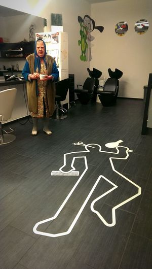The Places I've Been Today Pilus Hairdresser Crime Scene Hairstylist Haircut Killed Witness