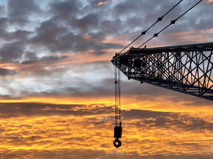 Crane Clouds Sunset Cloud - Sky Sky Orange Color Dramatic Sky Silhouette No People Outdoors