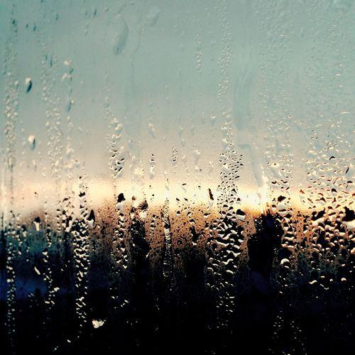 ガラス窓 窓越し 硝子窓 雨 雨降り Rain Rainy Day 朝焼け