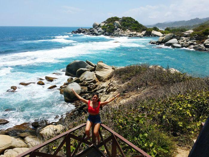 Water Sea Full Length Beach Standing Tree Clear Sky Women Young Women Rock - Object