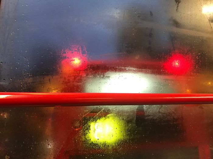 One Buse's View From Another Wet Glass - Material Transparent Transportation Rain Land Vehicle Window Drop Weather Red Mode Of Transport EyeEm Best Shots London Photography Art By Laziz