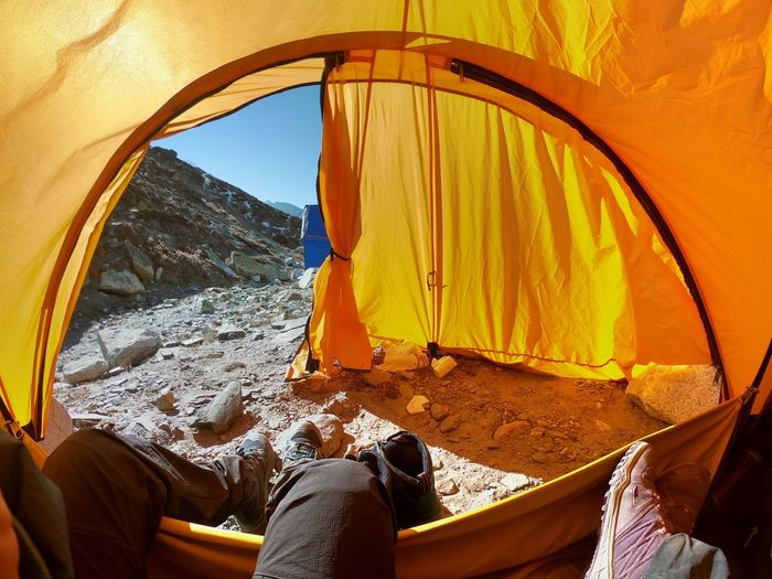 View of tent on rock