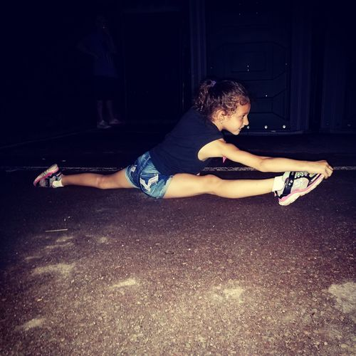 Athlete Flexibility Outdoors Gymnast  Childhood Summer Child Splits, Toe Touch, And Cartwheels