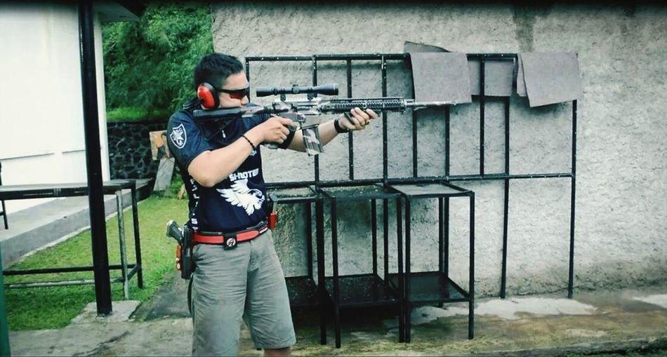 Trying shooting using HK16 at The Indonesian Secret Service Office - shooting range hHk416rRiflesShootingeEagle Shooting Club Indonesia