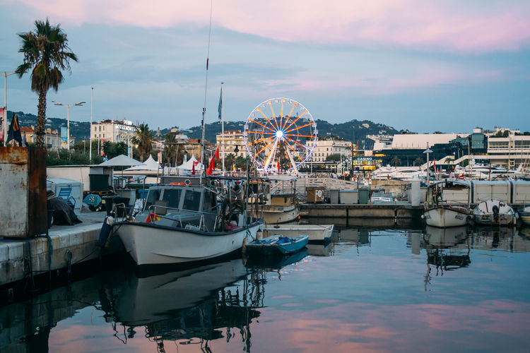 Cannes France Dusk Evening Fishing Boat Harbor Marina Moored Nautical Vessel Night Port Reflection Sailboat Water Yacht