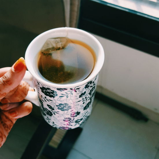Refreshment Human Hand Drink Holding Tea - Hot Drink Food And Drink Human Body Part Tea Cup High Angle View Cup One Person Freshness Close-up Indoors  People Day Adult Greentea Morning Morningtea