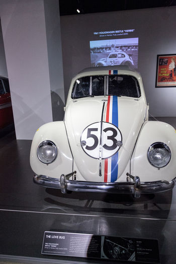 Los Angeles, CA, USA - March 4, 2017: Love Bug 1963 Volkswagen Beetle Herbie driven in the movie Herbie: Fully Loaded at the Petersen Automotive Museum in Los Angeles, California, United States. Editorial only. Volkswagen 1963 Beetle Classic Car Classic Cars Herbie HerbieTheLoveBug Love Bug MOVIE Movie Prop Petersen Automotive Museum Vintage Vintage Car Volkswagen Beetle