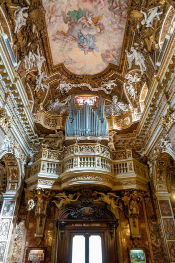 Low Angle View Built Structure Architecture Religion Place Of Worship Indoors  Building Belief Ceiling Pipe Organ Spirituality No People Travel Destinations Music Ornate Architectural Column Mural Fresco Cupola Gothic Style