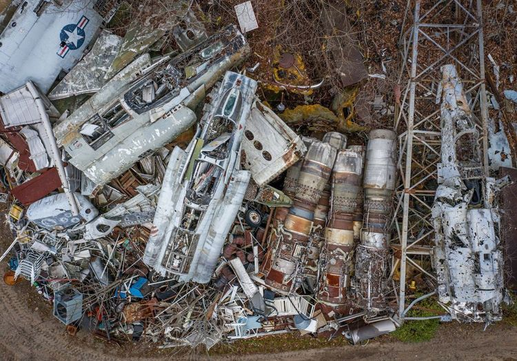 High angle view of garbage by metal structure