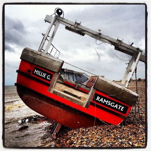Fishing Boat Pebbles And Stones Ramsgate Red Vessel Shingle Beach Shipwreck Stormy Sea Wreck Ramsgate Kent Kent Coastline