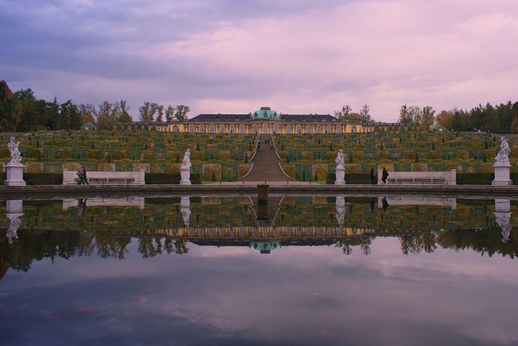 Reflection Sky Architecture Cloud - Sky Built Structure No People Outdoors Tree Building Exterior Water Day Sunset Nature Pyramid Potsdam Germany Sanssouci