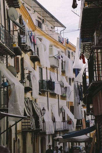 Hanging Variation Drying Clothing No People Architecture Built Structure Sheets Low Angle View Day Outdoors Building Exterior City Sicily Palermo