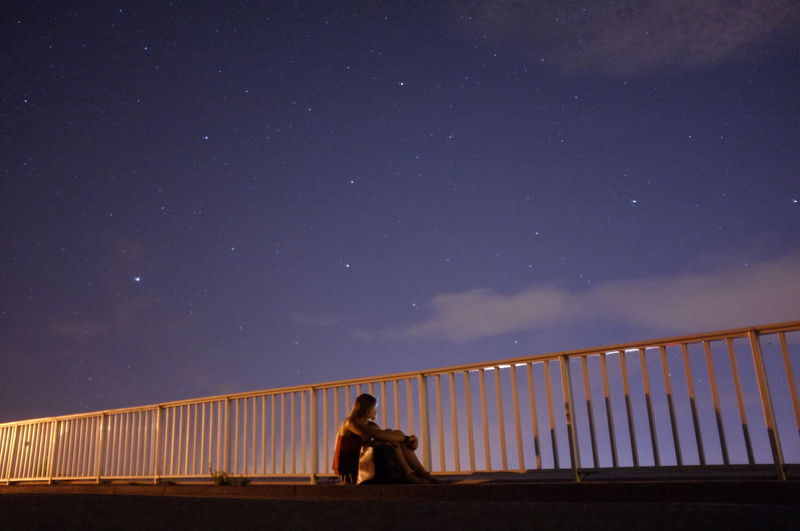 A place to rest your thoughts // Archamps, France Blue Bridge Idyllic Night Nightphotography Portrait Shadow Sky Stars Stars & Dreams Tranquil Scene Tranquility We Are Small In The Universe