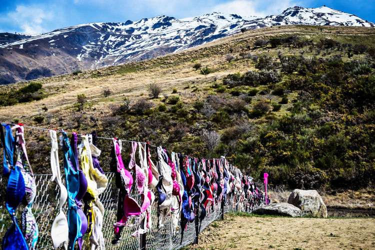 World famous Cardrona bra fence, New Zealand. Cardrona Cardrona Bra Fence Statement Bra Bradrona Breastcancer Awareness Clothes Clothesline Clothing Environment Fence Hanging Lingerie Mountain Mountain Range Multi Colored Nature Outdoors Scenics - Nature Snowcapped Mountain Symbolic  Tranquil Scene Tranquility Tree Underwear😈