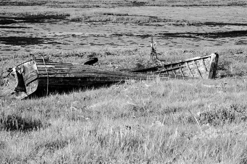 Defeated By Age Abandoned Bad Condition Blackandwhite Broken Damaged Day Decline Deterioration Grass Land Nautical Vessel Obsolete Old Ruined Run-down Shipwreck Transportation Wood - Material
