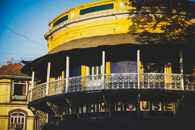 Yellow Kalaghoda Mumbai House Rhythm Architecture Built Structure Building Exterior Low Angle View Outdoors No People Day Yellow Sky