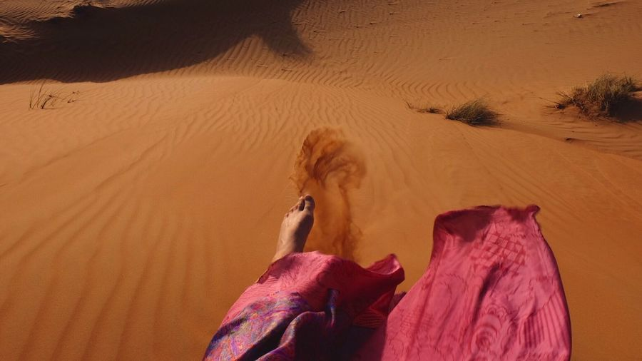 Feeling free in the desert, Wahiba Sands, Live For The Story Sand Sand Dune Real People One Person Desert Arid Climate Human Leg Human Body Part Leisure Activity Shadow Nature Day Fun Domestic Animals Low Section Mammal Men Outdoors Human Hand Lifestyles