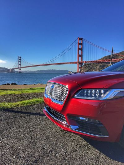 Transportation Red Connection Bridge - Man Made Structure Sky Mode Of Transport Clear Sky Outdoors Suspension Bridge Engineering Built Structure Day Water No People Land Vehicle Architecture San Francisco Golden Gate Bridge Lincolncontinental  Preferredmagazine