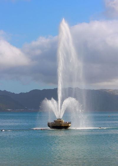 The Iconic water fountain on display, Oriental Bay, Wellington, New Zealand. Fountain Travel Wellington  Day Freyberg Iconic Iconic Landmark Landmark Motion Nature New Zealand Oriental Parade Outdoors Scenics Sea Sky Splashing Spraying Travel Destinations Water Waterfront