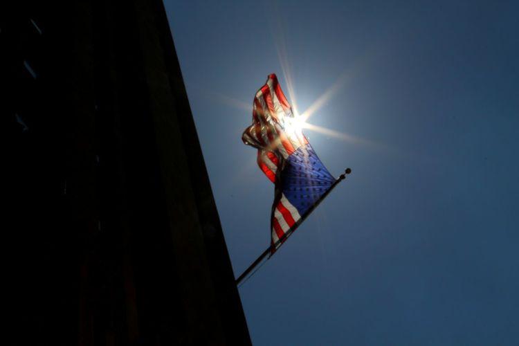 Sun shining through the American flag America American American Flag Patriotic Flag Stars And Stripes Sun Creative Light And Shadow