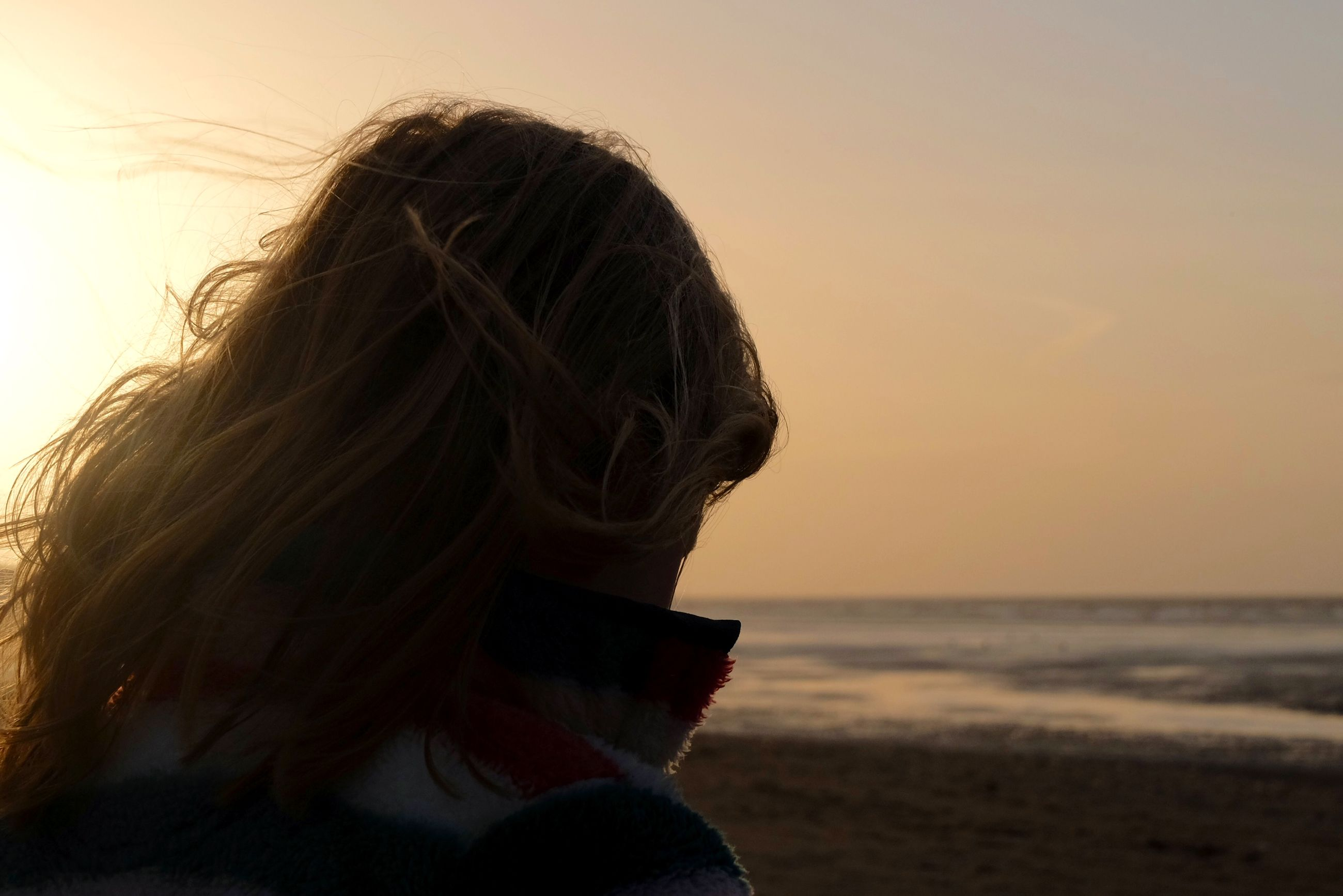 sea, beach, horizon over water, rear view, lifestyles, leisure activity, long hair, person, water, headshot, sky, shore, tranquility, sunset, tranquil scene, focus on foreground, nature, beauty in nature