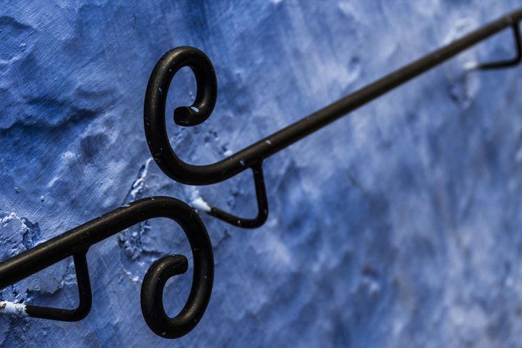 High angle view of metal on wall