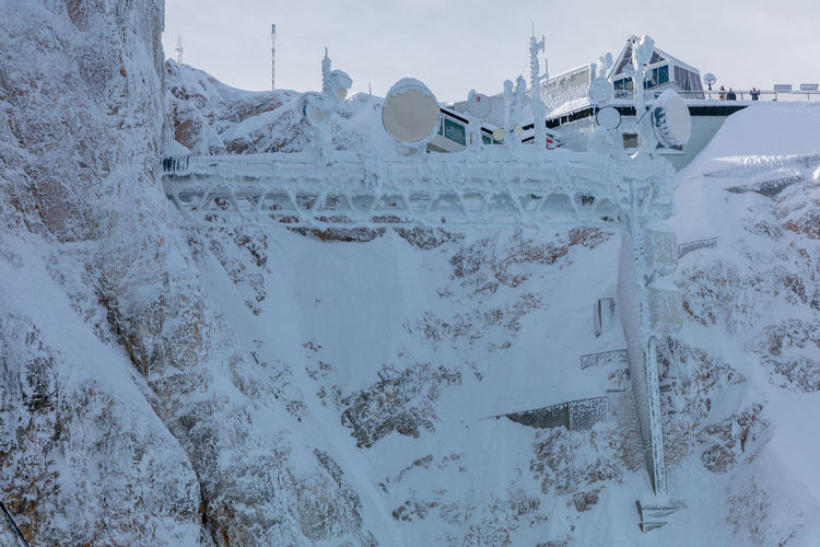 The mountain station of Zugspitze cable car. 2017 Year Cable Car Frost Ice New Seilbahn Station Winter Zugspitzbahn Zugspitze Bergstation Cold Cold Temperature Man Made Structure Men Made Object Mountain Mountain Station New Cable Car Snow Technology Top Of Germany