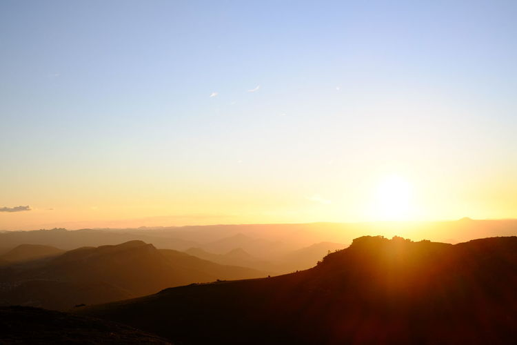 Sunset is always a treat when you're at Worlds View, Nyanga. Beauty In Nature Clear Sky Idyllic Landscape Mountain Mountain Range Nature Orange Color Scenics Silhouette Sky Sun Sunset Tranquil Scene Tranquility