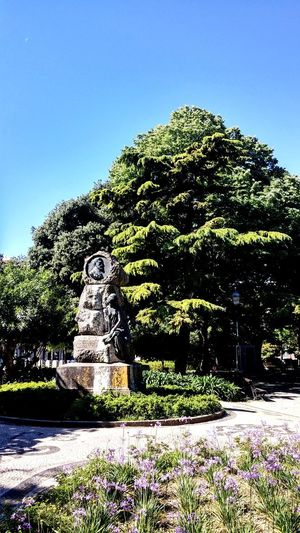 View of statue in park