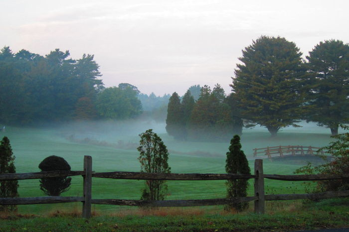 Fall Beauty Golfcourse Foggy Morning Fence New England  Morning