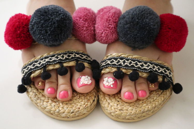 sandal decorations Bonbons Cute KAWAII かわいい Close-up Creativity Human Body Part Art And Craft Focus On Foreground Body Part Nail Polish Nail Indoors  Pink Color Slippers Room Shoes  Decorations Sandals Cute Sandals (: ❤