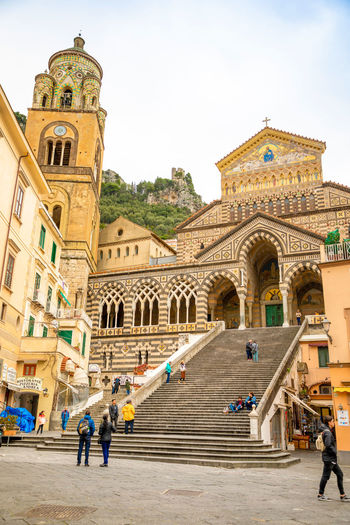 Italy Amalfi  Amalfi Coast Architecture Built Structure Building Exterior Group Of People Building Travel Destinations History The Past Incidental People Place Of Worship Travel Sky Religion Tourism Spirituality Arch Belief Day Men City Outdoors