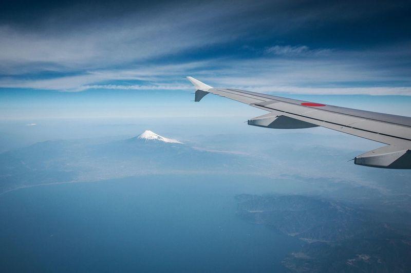 Aerial view of mount fuji