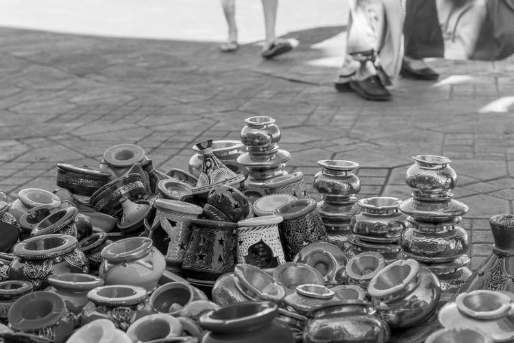 Arrangement Blackandwhite Chess Piece Close-up Day Detail Large Group Of Objects Low Section Marrakech Morocco One Person Outdoors People Real People Shopping