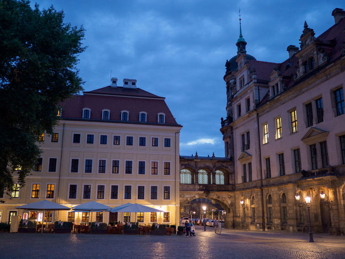 Square near Tashenberg in Dresden Architecture Built Structure Building Exterior Night Window Illuminated Building Nature Outdoors Dusk City Restaurant Terrace Outdoor Eating Outdoor Eating Terrasse
