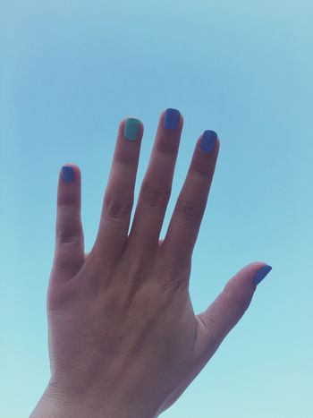 Blue Sky Blue Green Hand Nails Nailart  Nailpolish Summer Happy Holiday Bodrum Turkey