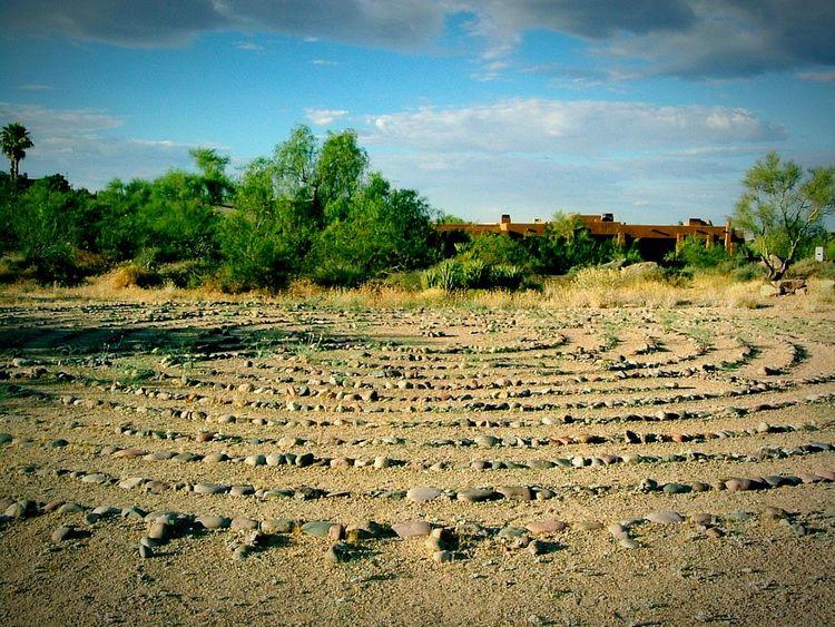 Exploring New GroundDesert Labyrinth Circular Circular Path Centering  Meditation Meditation Walk DesertSky Desert Landscape Secret Garden
