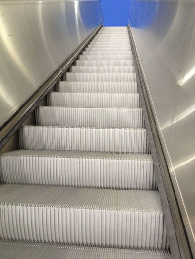 Absence Analogue Photography Blue Sky Compositon Design Escalator Flooring Indoors  Low Angle View Modern Order Pattern Perspective Staircase Steps