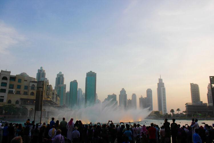 The dubai fountain near the dubai mall -world's largest choreographed fountain system