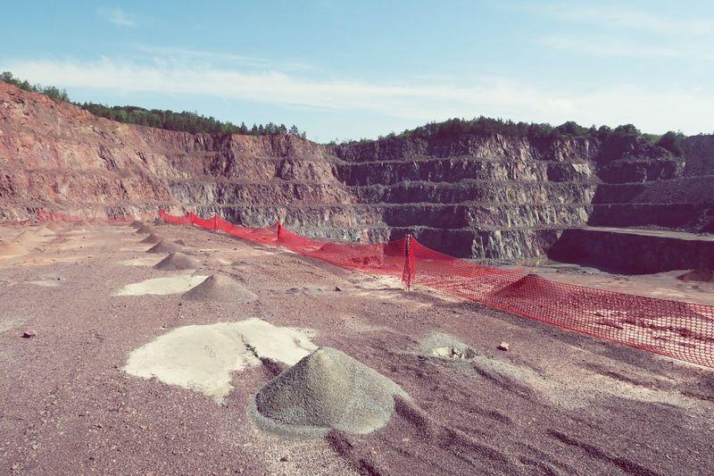 Coal mine against sky