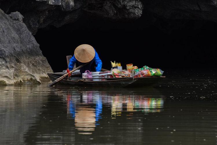 Cave around Tam Coc, Vietnam Travel Travel Photography Travel Travel Photography Boat Cave Water Reflection Water Nautical Vessel Sitting River Hat