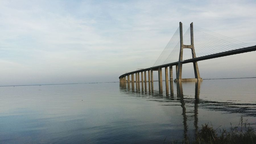 Ponte Vasco Da Gama Lisbon Expo Sunset Bridge Tagus River