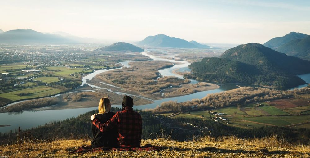 Hidden Gems  Plaid Jacket Plaid Blanket Mountain Two People Hiking Nature Mountain Range Beauty In Nature Adventure Togetherness Outdoors Looking At View