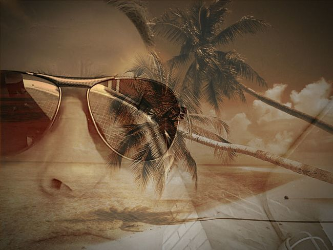 Cut And Paste Sunglasses One Person Adult Close-up Personal Perspective Double Exposure Break The Mold Beach Treepalm Sky Sky And Clouds Cloud - Sky The Secret Spaces EyeEm Diversity Art Is Everywhere EyeEmNewHere EyeEm Gallery TCPM